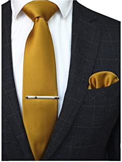 f93b9a10d872b RBOCOTT Solid Color Tie and Pocket Square, Tie Clip Set for Men