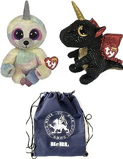 ReBL LLC TY Plush Stuffed Animal Toys Beanie Boos Medium (9-inch) Dragon and Sloth Unicorns with Drawstring Bag
