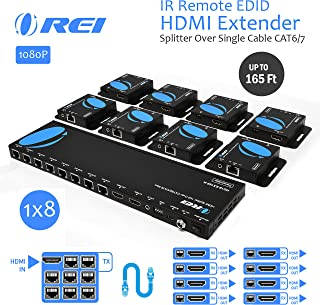 OREI 1x8 HDMI Extender Splitter Multiple Over Single Cable CAT6/7 1080P with IR Remote EDID Management - Up to 165 Ft - Loop Out - Low Latency - Full Support