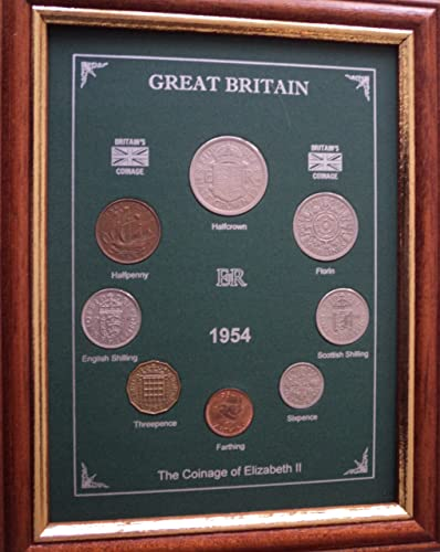 Framed 1954 GB Great Britain British Coin Birth Year Vintage Retro Gift Set (64th Birthday Present or Wedding Anniversary)