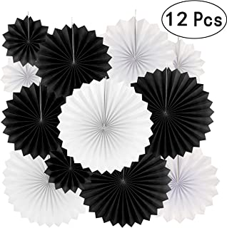 Black White Party Hanging Paper Fans Decorations - Wedding Retirement Graduation Birthday Party Engagement Bridal Shower Party Ceiling Hangings Photo Booth Backdrops Decorations, 12pc
