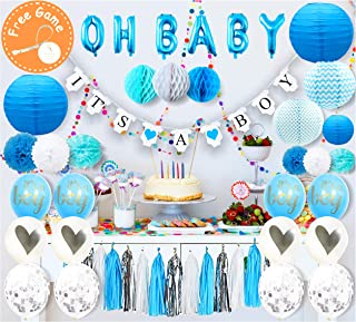 Baby Shower Decorations for Boy, Blue Set 57 Pieces Kit   It's a Boy Banner   OH Baby Foil Letter Balloons   Pom Poms Flower   Paper Lanterns   Tassels ( Blue, White, Silver)   Honeycomb   Free Gift a Tummy measure Tape Game