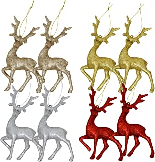 Gift Boutique Mini Reindeer Christmas Ornaments Figurines 8 Pack Deer Moose Tree Decorations Silver Red Gold Champagne Glitter Festive Holiday Party Decor
