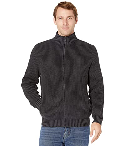 Lucky Brand Washed Full Zip Mock Neck Sweater (Jet Black) Men