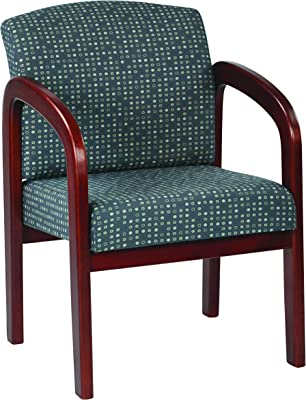 Office Star Padded Fabric Seat and Back Visitors Chair with Cherry Finish Frame, Ash