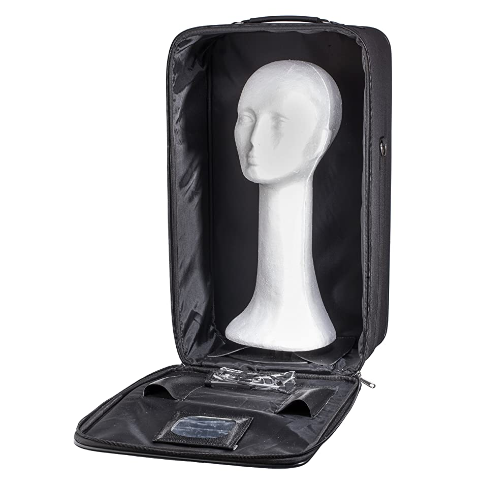 Travel Wig Case Combo Kits - Breathable Canvas Box with Carrying Handles and Shoulder Straps - Available with Wig Bands, Styrofoam Manikin Head, or Detangling Brush (21