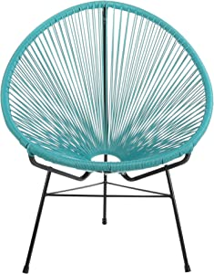 Design Tree Home Acapulco Indoor/Outdoor Lounge Chair, Blue Weave on Black Frame