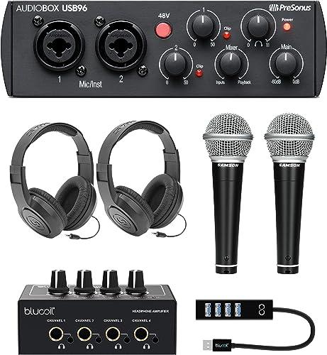 2021 PreSonus AudioBox USB 96 25th Anniversary Edition Audio Interface Bundle with Blucoil 4-Channel Headphone Amplifier, Samson online 2x R21S Dynamic Microphones, 2x online sale SR350 Headphones, and USB-A Mini Hub outlet sale