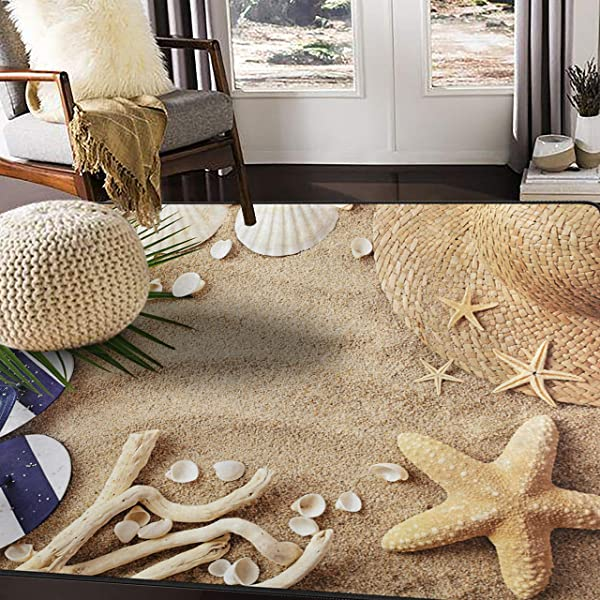 ALAZA Sandbeach Starfish Shell Tropical Area Rug Rugs For Living Room Bedroom 7 X 5
