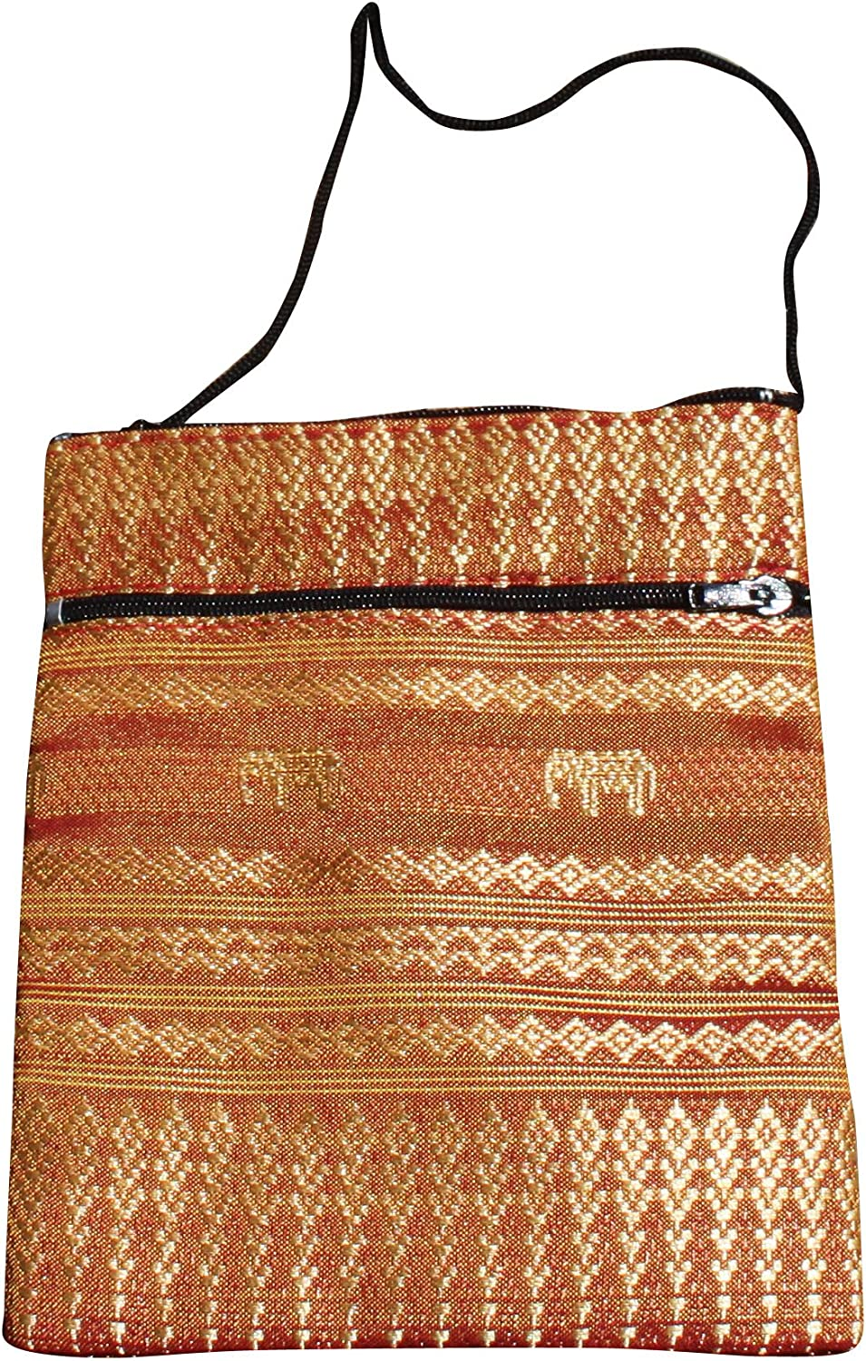 Full Funk Throwover Long Cord Thai Silk Hill Tribe Pouch, 5x6inch, Copper Brown