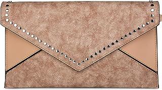 styleBREAKER Envelope Clutch im Kuvert Design mit Nieten, 2-Tone Washed Vintage Look, Abendtasche, Damen 02012172, Farbe:B...