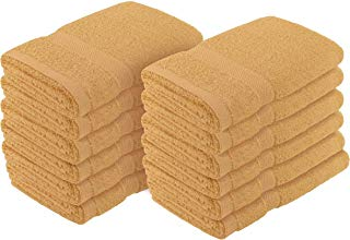"""Crover 12PC Essentials Fast Drying Super Absorbent Terry Cloth 100% Cotton Salon Towel, Kitchen Hand Towel Beige 16""""x27"""""""