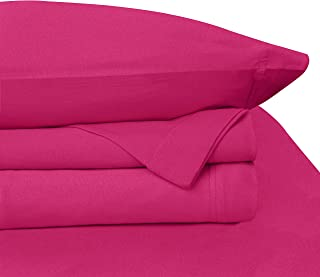 (King, Bright Pink) - BALTIC LINEN COMPANY Cotton Jersey Sheet Set, King, Bright Pink