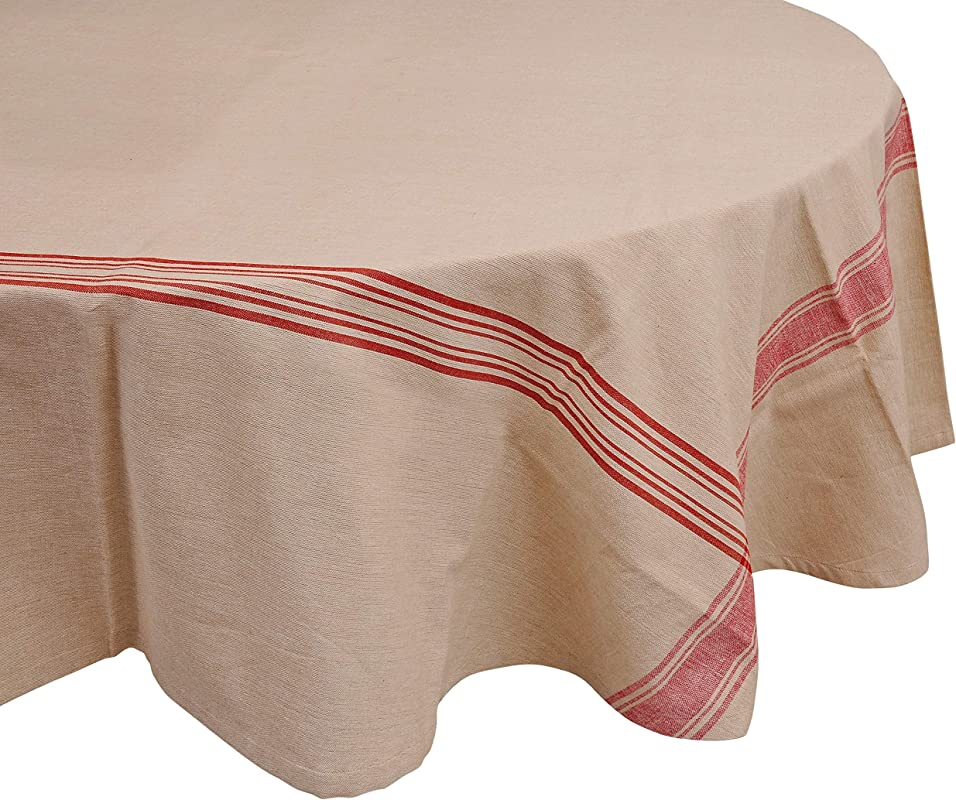 Yourtablecloth 100 Cotton Fabric Tablecloth French Nautical Design Table Cloth Hemmed Edges Superior Quality Durable Red Stripes 70 Round
