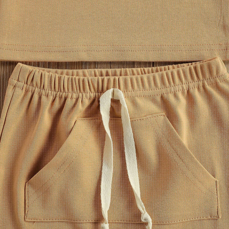 Newborn Baby Boys Summer Shorts Set Sleeveless Button T-Shirt Tank Top Pocket Drawstring Shorts Summer Clothes Set