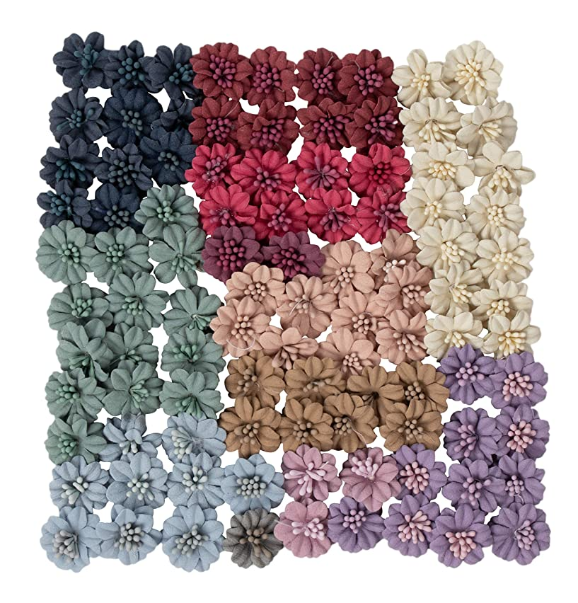 Decorative Craft Flowers - 100-Pack Flower Embellishment, Applique, Table Scatter, Artificial Flower Head for Scrapbooking, DIY, Wedding Party Decoration, Assorted Light Colors, 1 x 1 x 0.4 Inches