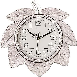 eCraftIndia Retro Leaf Shape Plastic and Glass Wall Clock (27.5 cm x 2.5 cm x 27.5 cm, Silver)