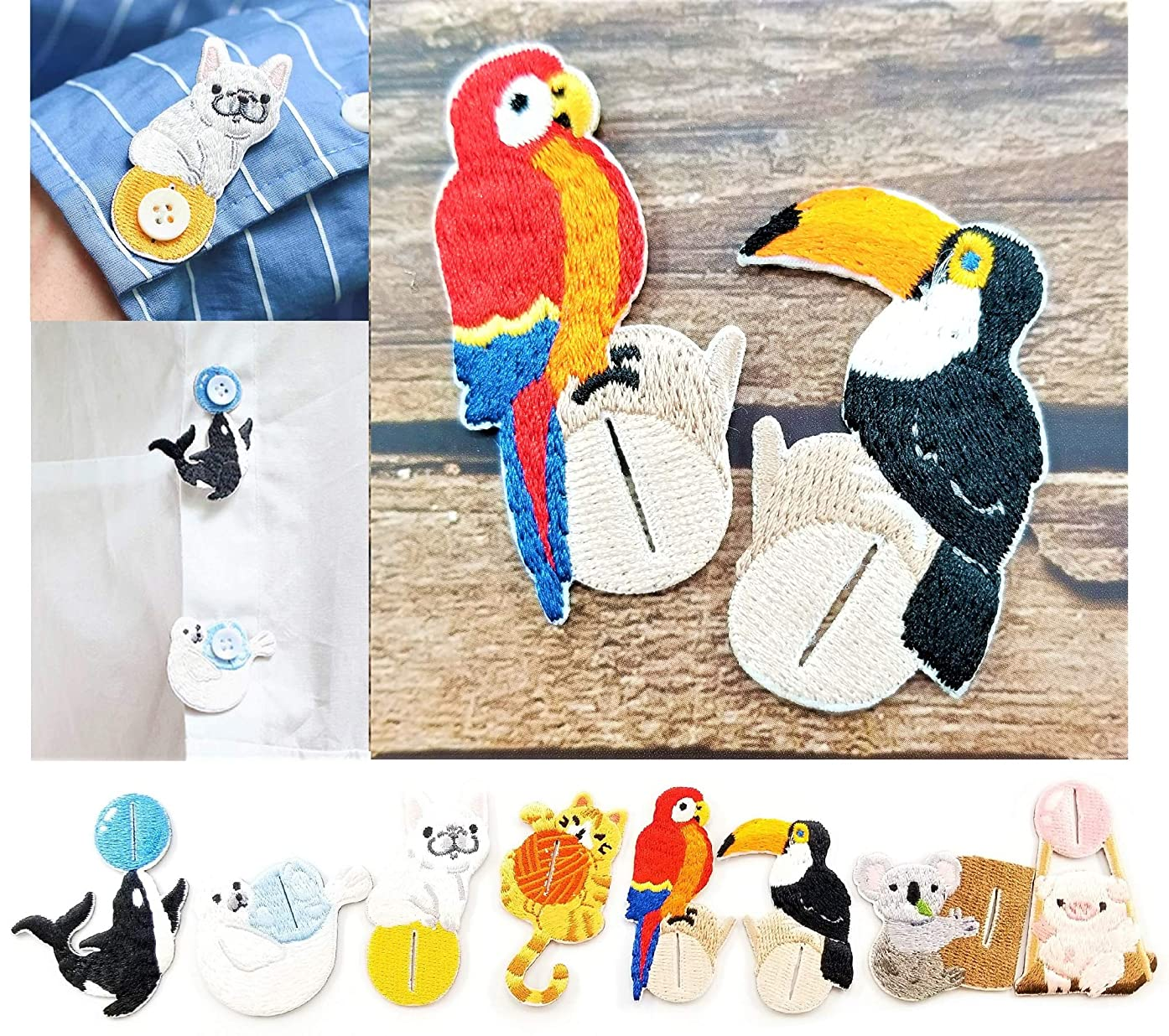 2 Pieces Embroidered Patches Shirt Button Accessories Various DIY Cloth Art Embroidery Decoration Super Cute Fashion Stylish Accessories for Kids and Adult (Scarlet Macaw & Toco Toucan)