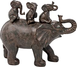 """Nature's Mark 10"""" H 3 Baby Elephants Riding an Elephant Resin Statue Figurine Home Decorative Accent Decor"""