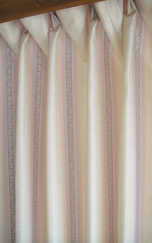 少しアライアンスマイクウォッシャブル 高密度 ジャカード カーテン 6301(RO) ローズ ピンク ベージュ 生地?縫製共 日本製 (幅150cmX丈135cm 2枚入り)