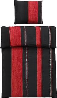 4-Teilig Microfaser Seersucker Bettwäsche schwarz, rot mit Reißverschluss 2X 135x200 Bettbezug  2X 80x80 Kissenbezug, Öko-Tex Standart 100