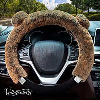 Didida Winter Warm Faux Wool and Bling Diamond Fluffy Fashion Steering Wheel Covers for Women/Girls/Ladies 15 Inch,Coffee