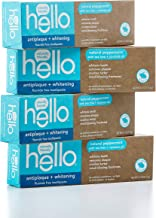 Hello Oral Care Fluoride Free Antiplaque & Whitening Toothpaste, Vegan & SLS Free, Natural Peppermint with Tea Tree Oil & Coconut Oil, 4Count