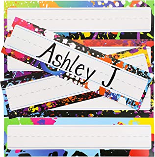 Desk Nameplates - 48-Pack Colorful Desktop Reference Name Plates, 6 Splash Designs, Paper Name Tags for Teachers, Students, Desk Labeling, 11.5 x 3.0 inches