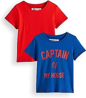 Marca Amazon - Red Wagon, Camiseta para Niños, pack de 2