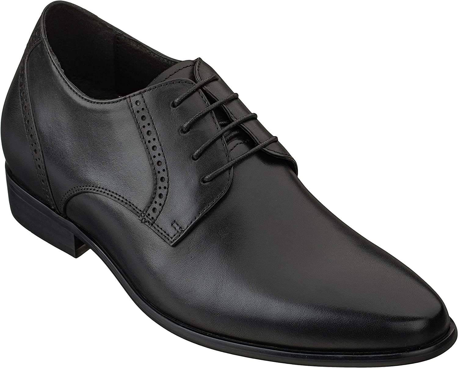 CALTO Men's Invisible Height Increasing Elevator Shoes - Premium Leather Lace-up Formal Oxfords with Faux Leather Sole - 2.8 Inches Taller