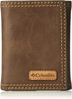 Columbia Men's RFID Leather Wallet - Big Skinny Trifold Vertical Security Protection Credit Card Slots and ID Window