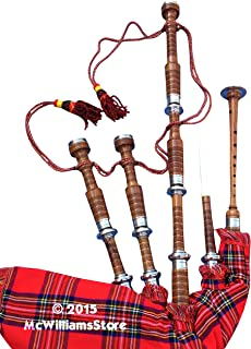 McWilliams PROFESSIONAL SCOTTISH HIGHLAND BAGPIPE FNS MOUNTS ROYAL STEWART TARTAN AND HARDSHELL BOX