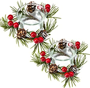 Christmas Candle Holder, Christmas Votive Candle Holders Cranberry Wreath Glass Tealight Candle Holder, Decorative Christmas Candle Display for Home, Living Room and Bedroom Holiday Decorations
