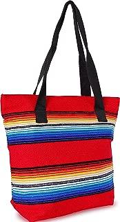 Handwoven Serape Tote Bag Sturdy woven cotton straps. Large Eco Friendly Tote Bag,Vibrant Colors, zipper closure and interior pickets (Red)