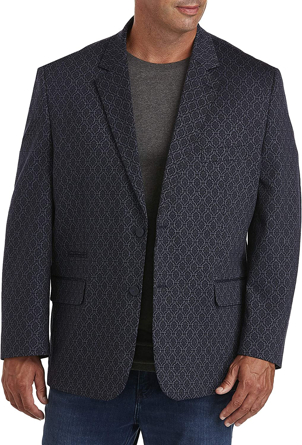 DXL Synrgy Big and Tall Jacket-Relaxer Paisley Sport Coat, Blue