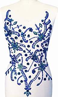 Handmade Beaded Sequin Yellow Bling Sew On Neckline Rhinestone Crystal Trim Bridal Applique Design Patch Sewing for Wedding Collar Dresses DIY Decoration 28x30cm Deep Blue