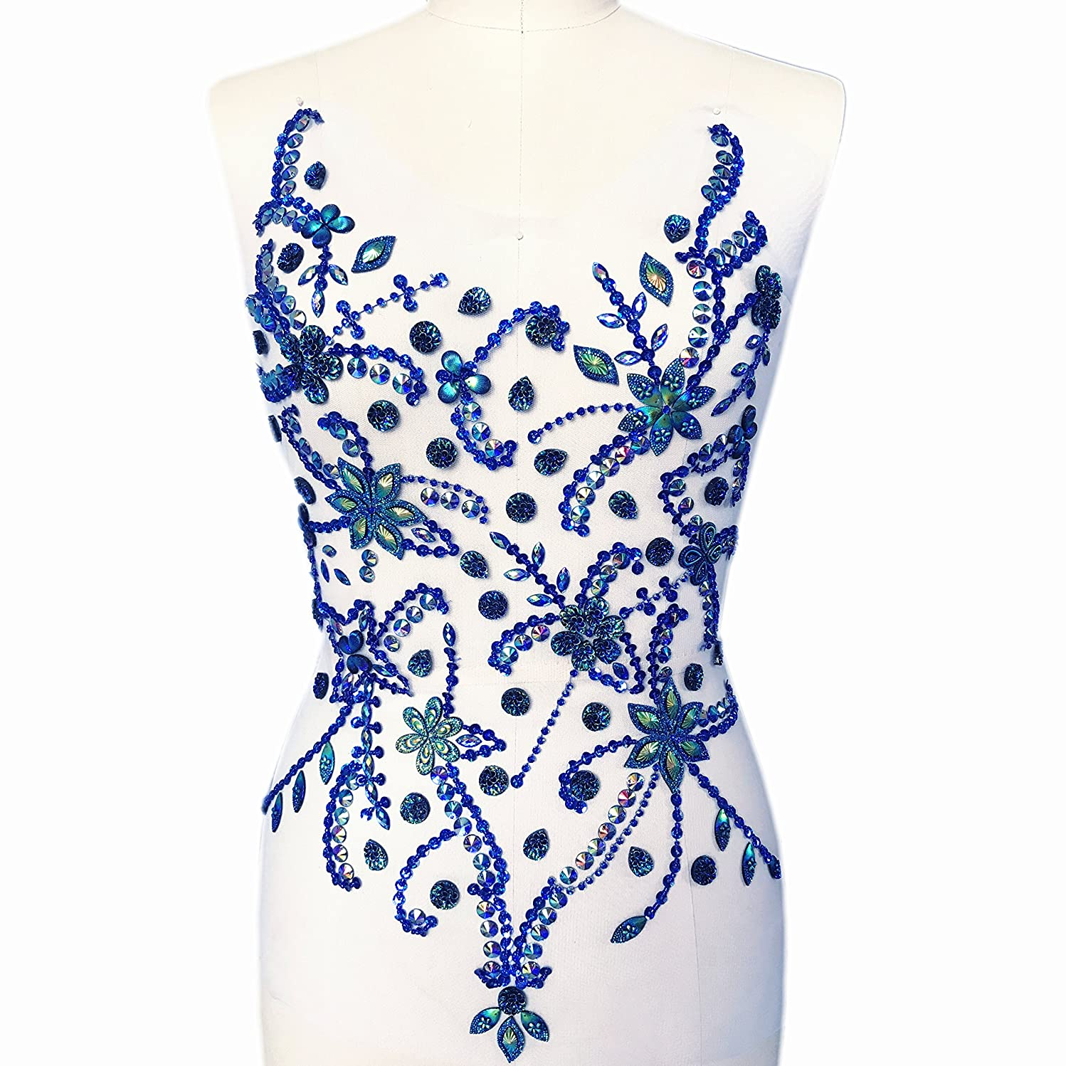 Exquisite Embroidery Big Flower Silver White Beaded Sequins Sew on Rhinestones Crystals Patches Applique Manual Costume Fine Motif Wedding Dress Trimming 14x21 Inch (Deep Blue)