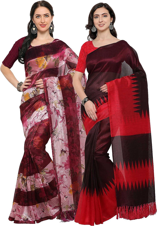 Rajnandini Wine Tussar Silk Printed Party Wear Saree (Combo Of 2)