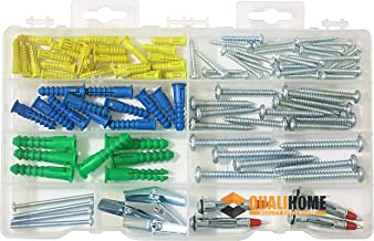 Qualihome Anchor Assortment Kit | Anchors, Molly Bolts, Screws, Toggle Bolts, Wings for Drywall, Hollow Wall, Plaster, Tile | Heavy Duty Masonry Set