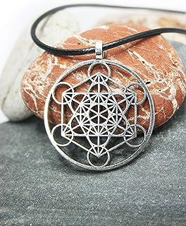 Colgante con el símbolo Metatrón, Cubo de Metatrón, Collar de protección, Joya espiritual, Estilo Boho, Geometría sagrada...