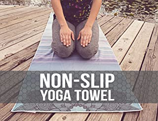 Hot Yoga Towel,Non-Slip Yoga Mat Cover,Eco-Friendly,Exclusive Pockets Cover Each Corner of The mat,Microfiber Yoga Towel,I...