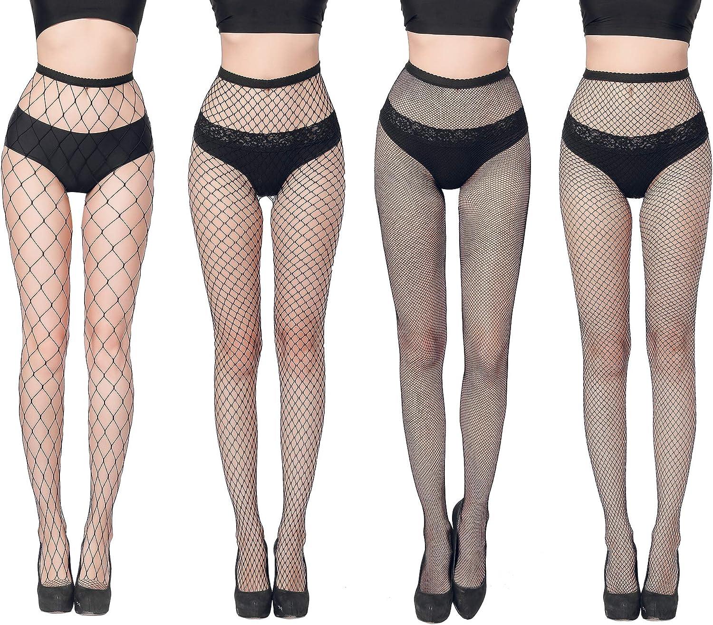 FLORA GUARD High Waist Tights Fishnet Stockings, High Waist Sexy Fishnets Pantyhose - 4 Pairs