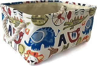 Rectangular Storage Basket Collapse Canvas Fabric Cartoon Nursery Hamper with Handles for Organizing Home/Kitchen/Kids Toy/Office/Closet/Shelf Baskets(Zoo)