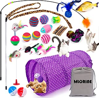 Cat Toys Kitten Toys 29pcs Assorted Cat Tunnel Catnip Fish Feather Teaser Wand Fish Fluffy Mouse Mice Balls and Bells Toys...