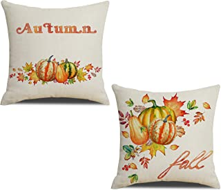 Fall Throw Pillow Covers Watercolor Pumpkin Decoration Farmhouse Thanksgiving Day Autumn Harvest Sign Home Decor Cushion Case Decorative for Sofa Couch Fall 18x18 Inch Cotton Linen