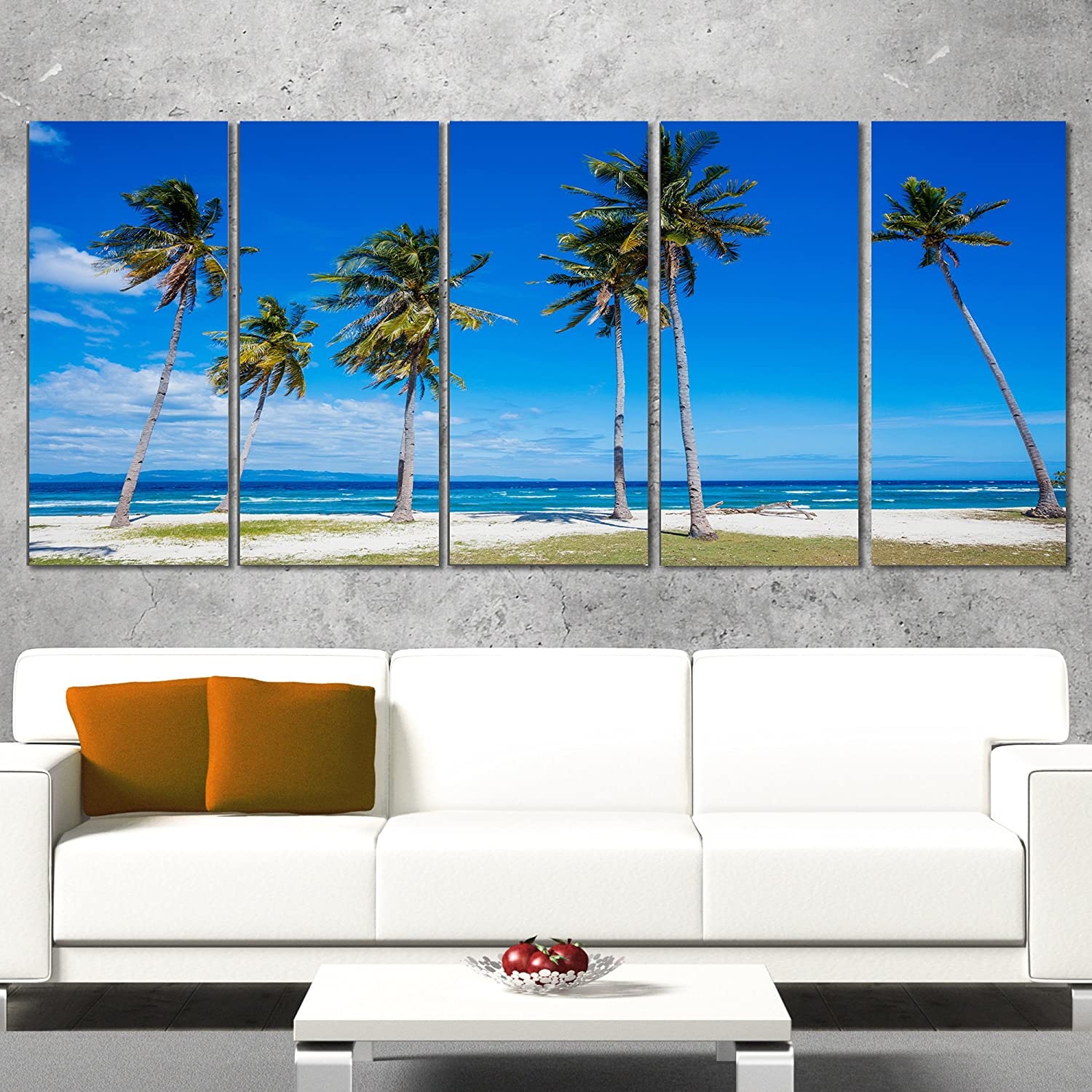 Designart Bright and Clear Tropical Beach-Extra Large Seascape Art Canvas-60x28 5 Piece-PT10845-401, 60x28-5 Equal Panels