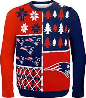 NFL New England Patriots BUSY BLOCK Ugly Sweater, Large
