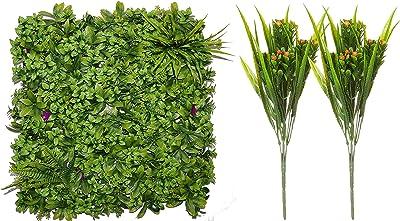 Fourwalls Decorative Square Artificial PVC Eucalyptus Boxwood Mat (50 cm x 50 cm x 5 cm, Green, Grass Mat) + Artificial Green Plastic Bush with Beautiful Flowers (32 cm Tall, Set of 2,Orange)