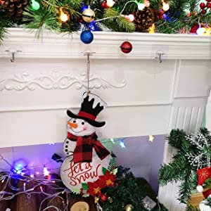 SpecialYou Winter Snowman Wooden Hanging Sign Christmas Holiday Decoration for Door Wall Christmas Tree Indoor Outdoor 15'' x 8''