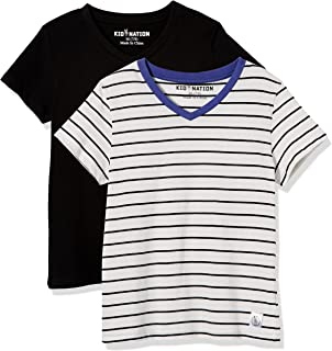 Kid Nation Kids Unisex 2 Packs Short Sleeve V Neck Tagless Tee Cotton Jersey T Shirts for Boys and Girls 4-12 Years